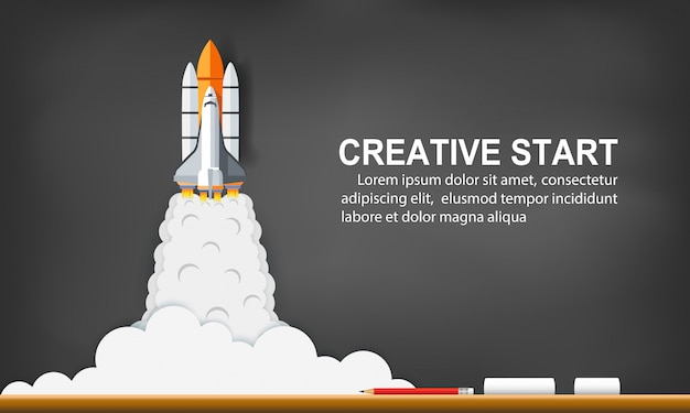 Space shuttle launch to the sky on background blackboard. start up business concept. creative idea. vector illustration Premium Vector