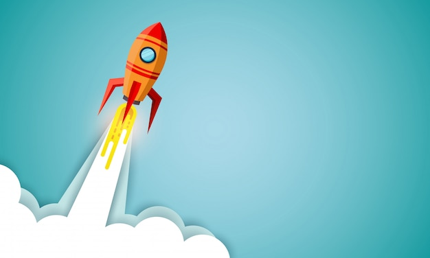 Space shuttle launch to the sky on blue background. start up business concept. vector illustration Premium Vector