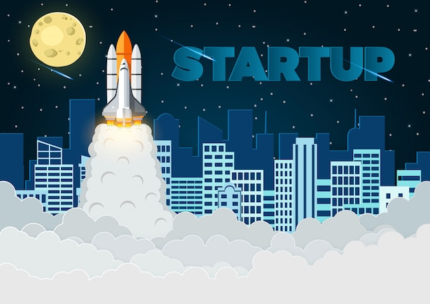 Space shuttle the launch to the sky full of stars at night with the city in the back, vector illustration Premium Vector
