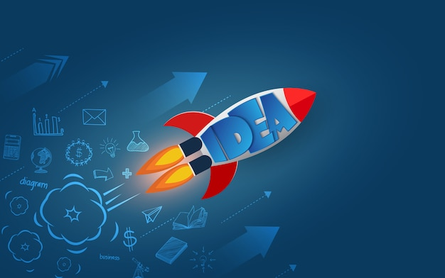 Space shuttle launch to the sky. isolated from the blue background Premium Vector