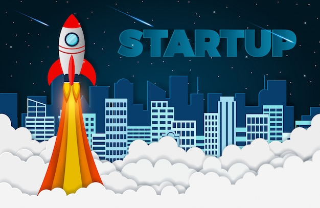 Space shuttle the launch to the sky. start up business finance concept Premium Vector