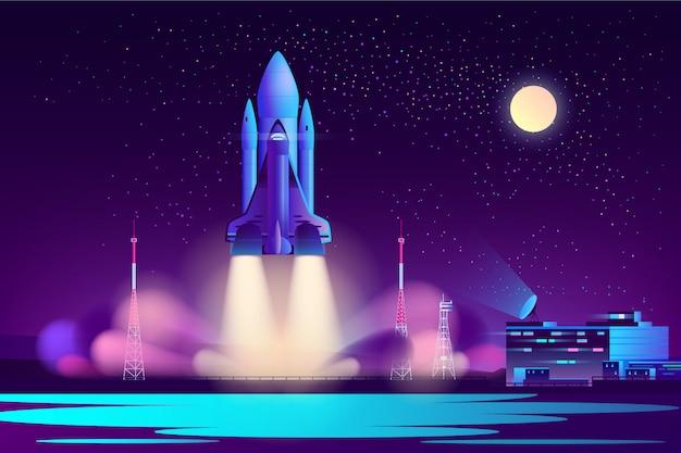 Space shuttle night launching cartoon vector Free Vector