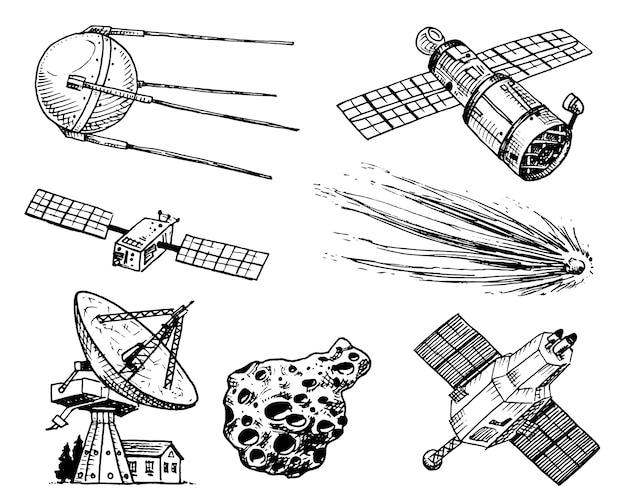 スペースシャトル、電波望遠鏡と彗星、小惑星と隕石、宇宙飛行士の探査。 Premiumベクター