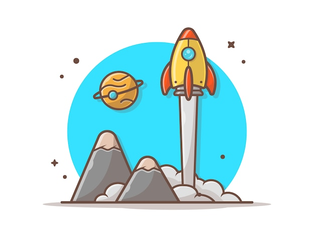 Space shuttle taking off with planet and mountain vector illustration Premium Vector