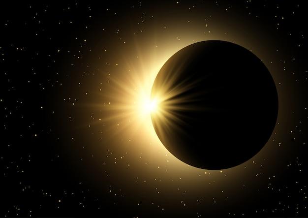 Spazio cielo sfondo con eclissi solare Vettore gratuito