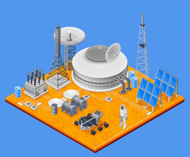 Space station isometric concept Free Vector