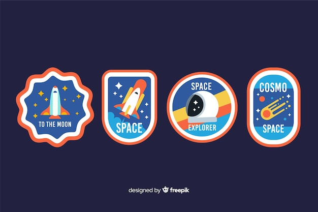 Space sticker collection concept illustration Free Vector