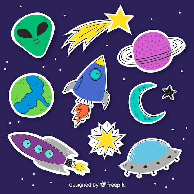 Space sticker collection in flat design Free Vector