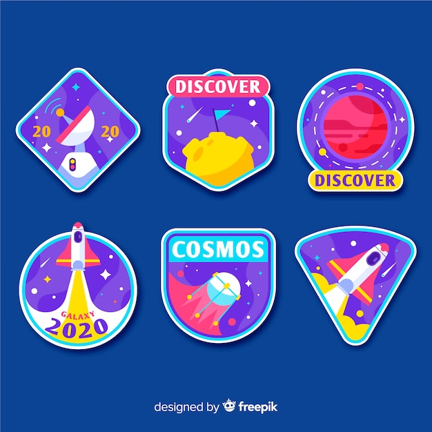 Space sticker collection illustration design Free Vector