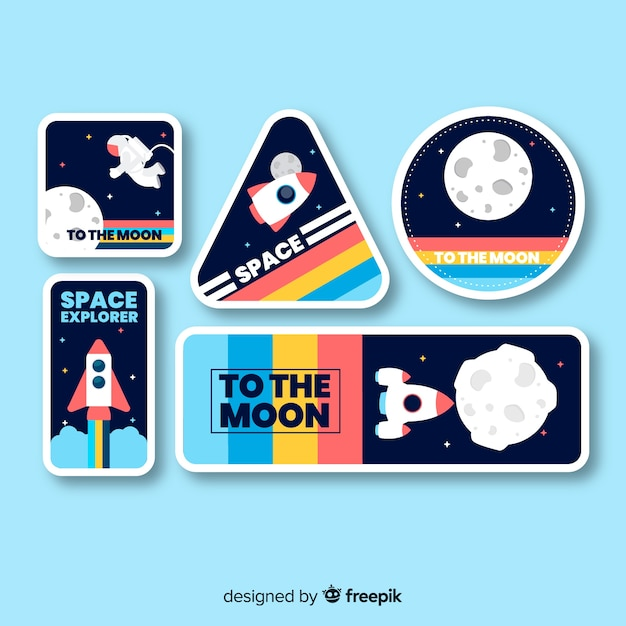 Space sticker collection with blue background Premium Vector