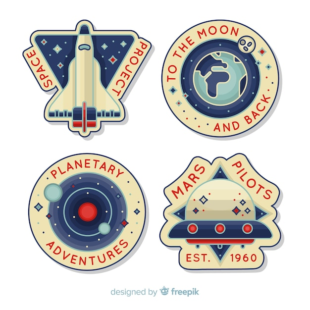 Space sticker collection Free Vector