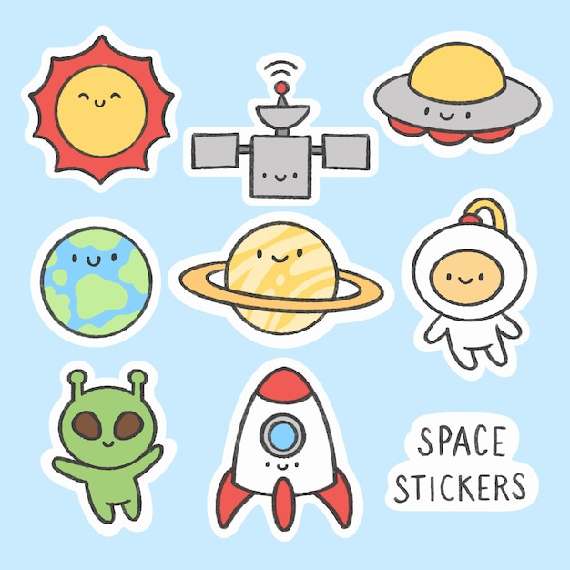 Space sticker hand drawn cartoon collection Premium Vector