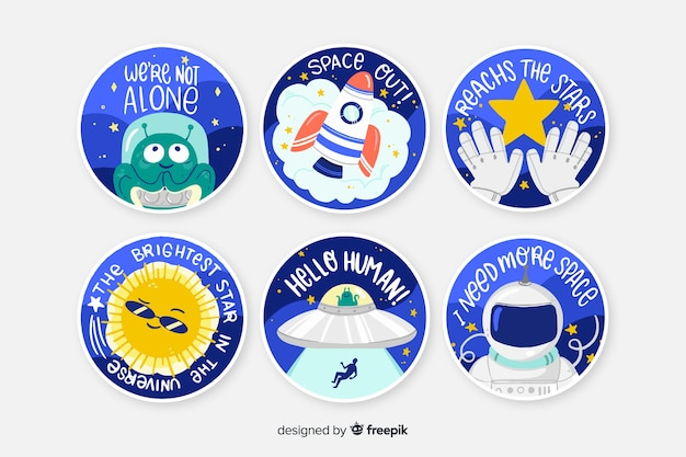 Space sticker round collection Free Vector