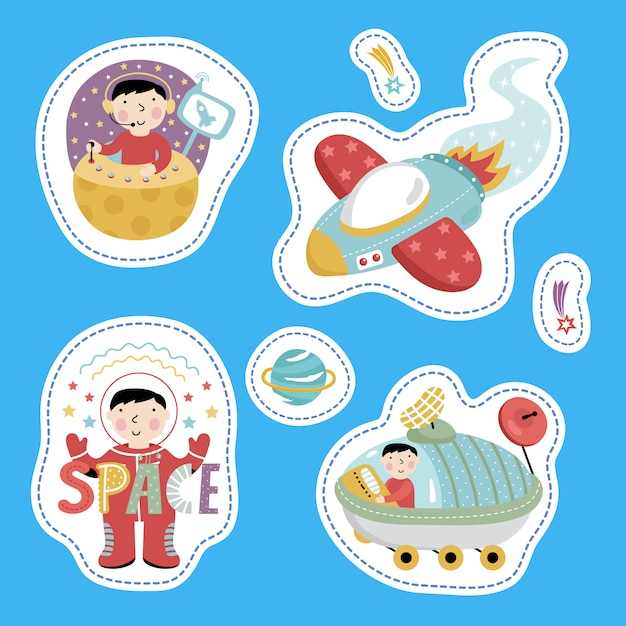 Space stickers, cartoon style Premium Vector