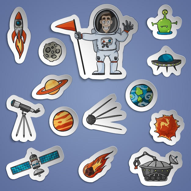 Space stickers set Free Vector