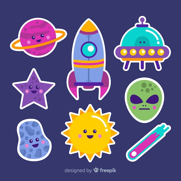 Space stiker collection cartoon concept Premium Vector