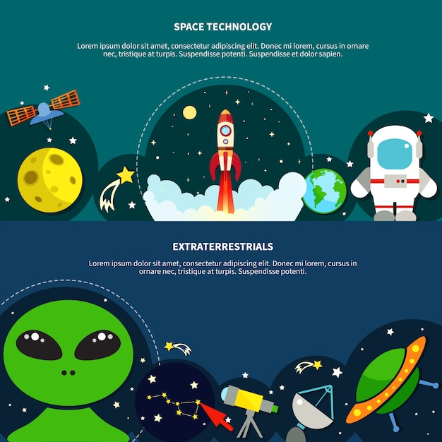 Space technology banners set Free Vector
