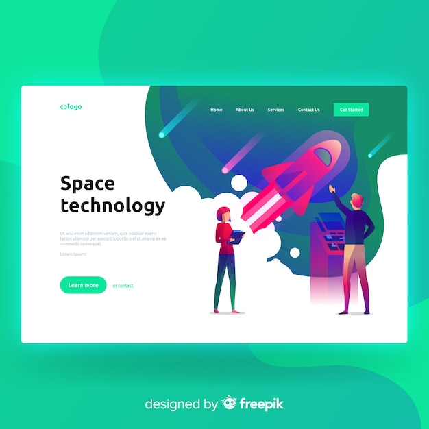 Space tecnology landing page Free Vector
