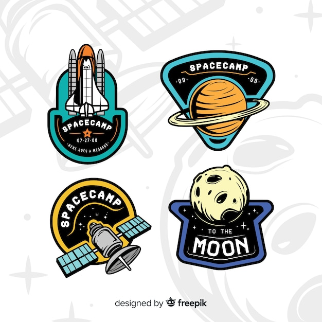 Space theme sticker collection Vector | Free Download