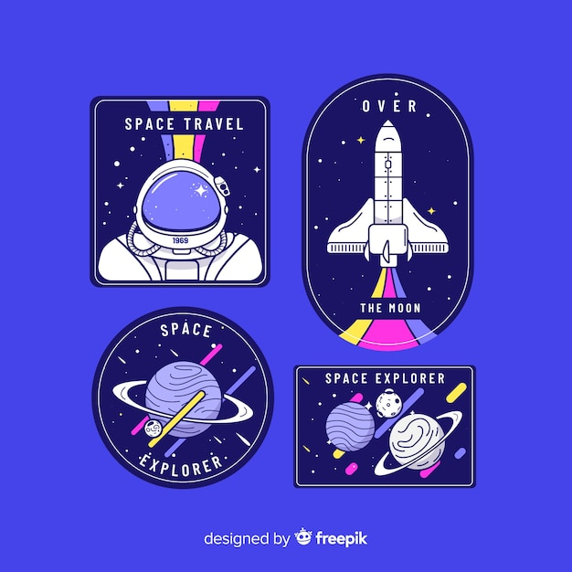 Space theme sticker collection Free Vector