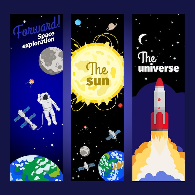 Space theme vertical flyers Premium Vector