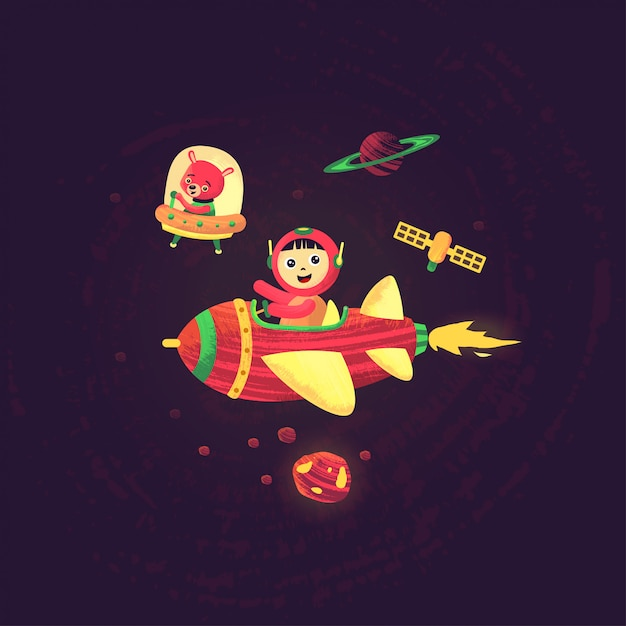 Space theme wallpaper with kids and bear Premium Vector