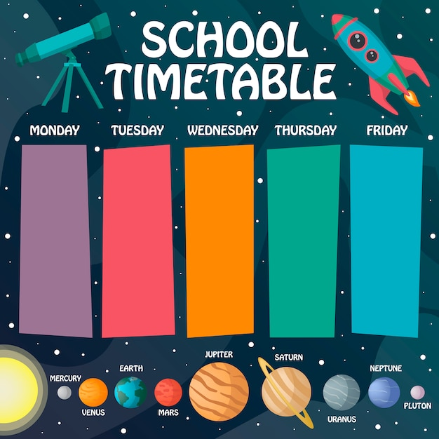 Space timetable Premium Vector