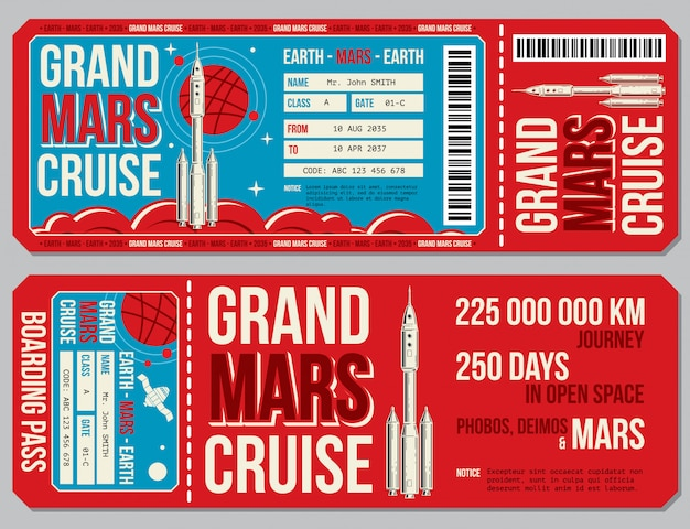 Space travel boarding pass template. journey to mars tickets. Premium Vector