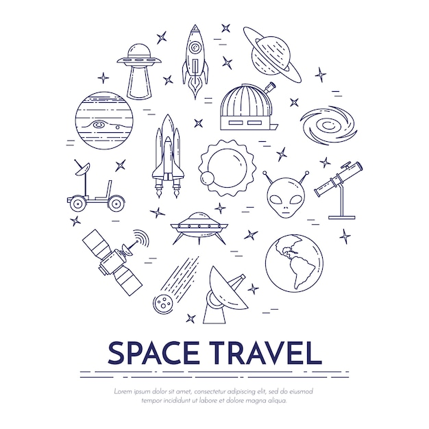 Space travel line banner with cosmos pictograms. Premium Vector