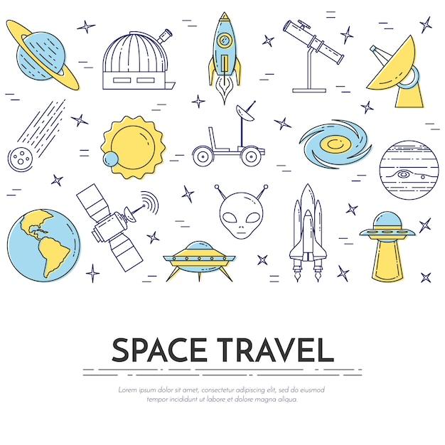 Космическое путешествие линии баннер с пиктограммами космос. Premium векторы