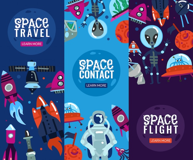 Space travel vertical  banner set Free Vector