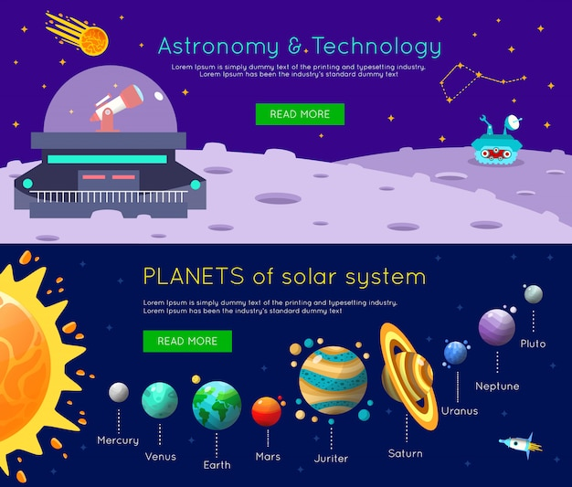 Space universe banner set Free Vector