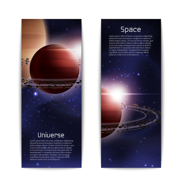 Space and universe banners vertical set Free Vector