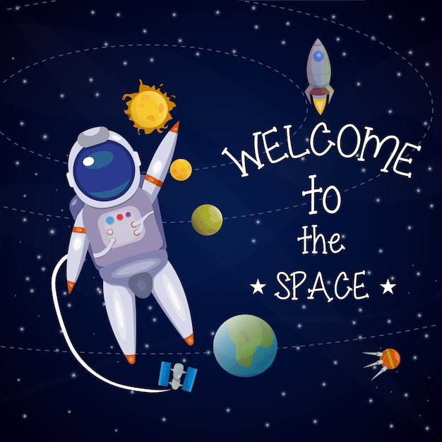 Space universe illustration Free Vector