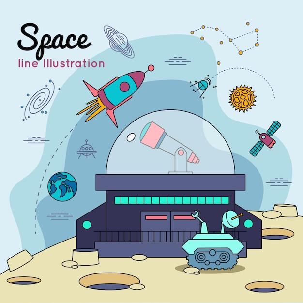Poster della linea dell'universo spaziale Vettore gratuito