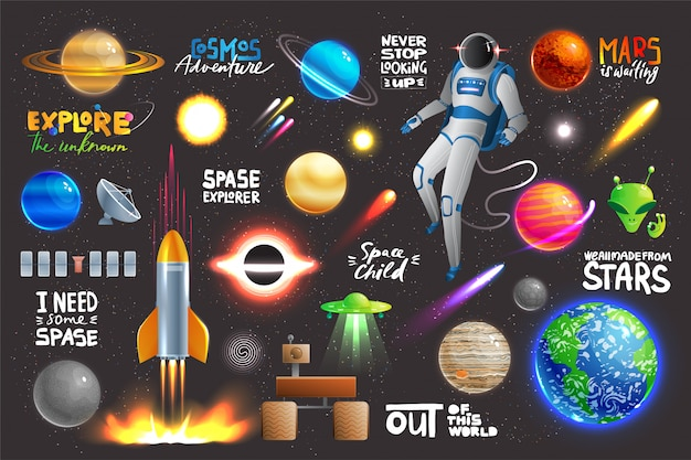 Space universe set, collection of glowing planets, icons and stickers with text,  illustration Premium Vector