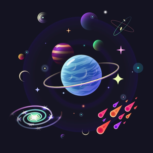 Space vector background with glossy planets Premium Vector