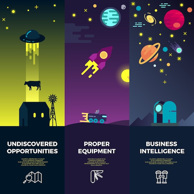 Space vector banners with flat astronomic ufo icons Premium Vector