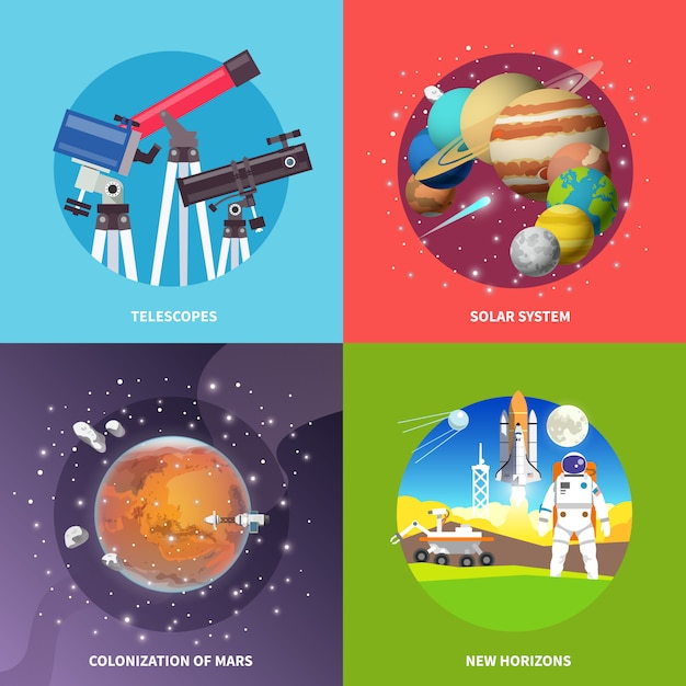 Space vector square banners. Premium Vector