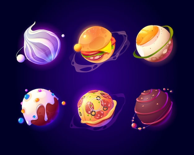 Space with food planets, pizza and candy texture Free Vector