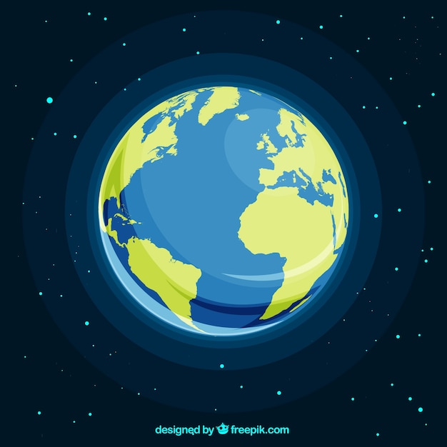 Space with planet earth in flat design Free Vector