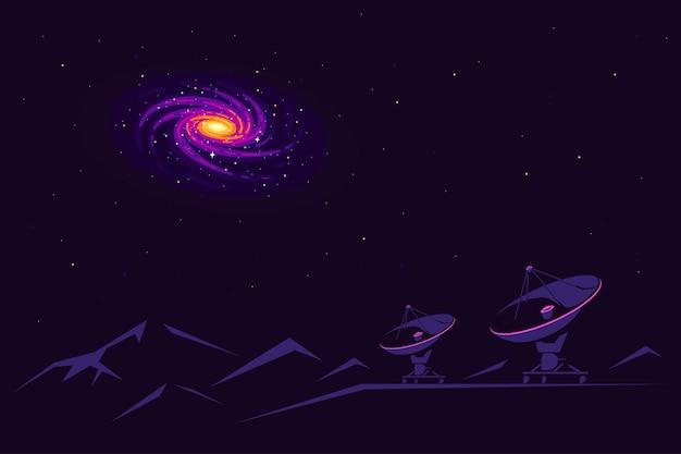 Космос с радиотелескопом и видом на галактику в небе. баннер космических исследований, исследующий космическое пространство. Premium векторы