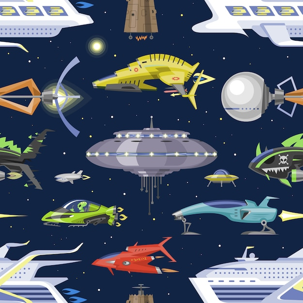 Spacecraft or rocket and spacy ufo, illustration of spaced ship Premium Vector