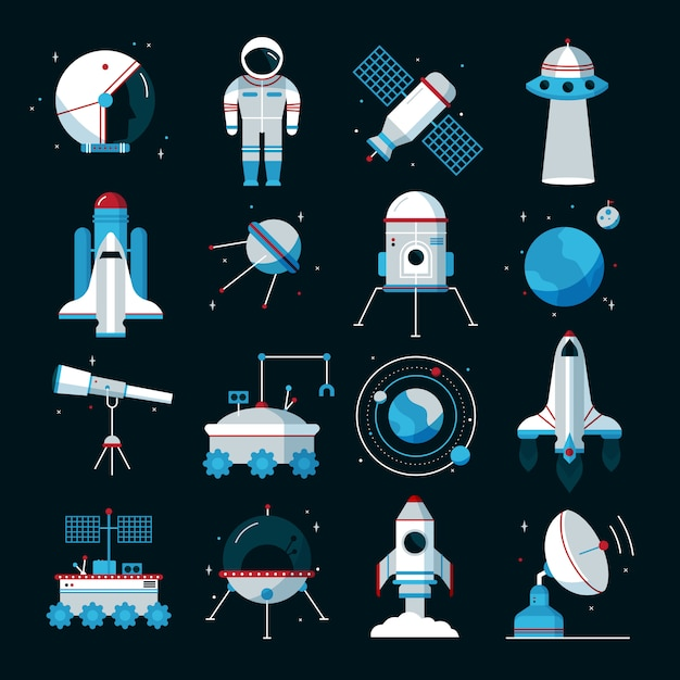 Spacecrafts flat icons set with cosmonaut space suit and equipment Free Vector