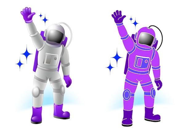 Spacemen characters set in flat color cartoon style. Premium Vector