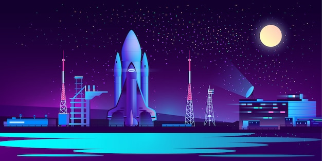 Spaceport, base at night with rocket Free Vector