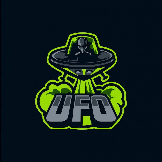 Spaceship and alien mascot logo for sport and esport isolated on dark Premium Vector
