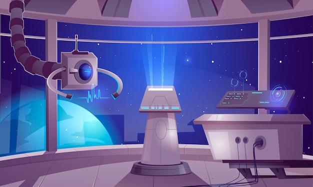 Spaceship control center illustration Free Vector