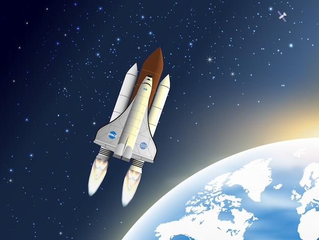 Spaceship flying near the earth's orbit. Premium Vector