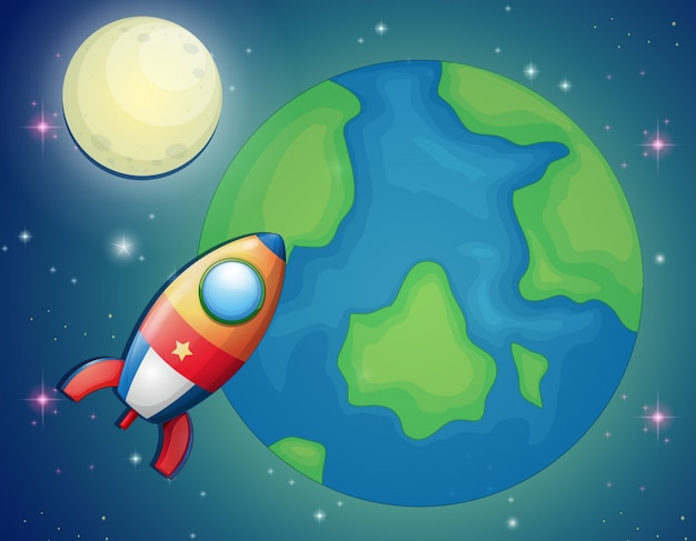 Spaceship flying over the world Free Vector